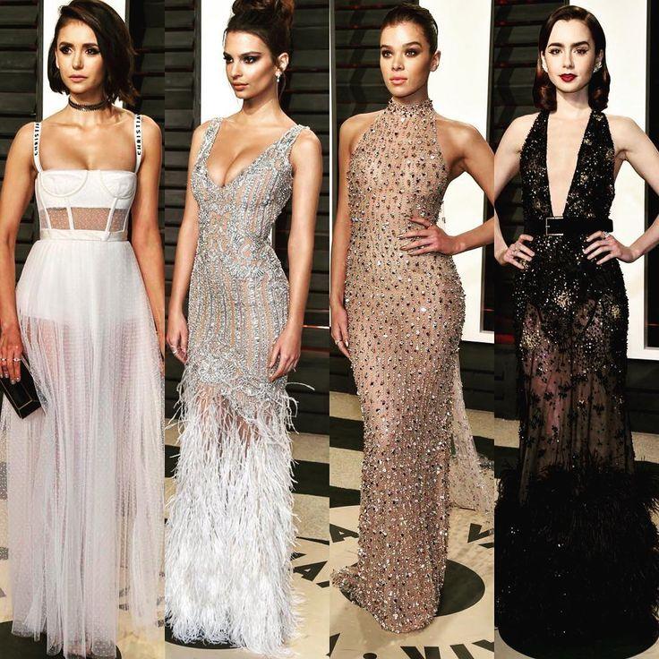 Which one is your favorite? #NinaDobrev wearing #Dior #emilyratajkowski wearing #jonathansimkhai #HaileeSteinfeld wearing #ralphandrusso and #LilyCollins wearing #ElieSaab   ---Comments below---