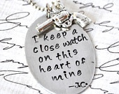 Johnny Cash I Keep A Close Watch on this Heart of Mine Hand Stamped ID Tag Necklace