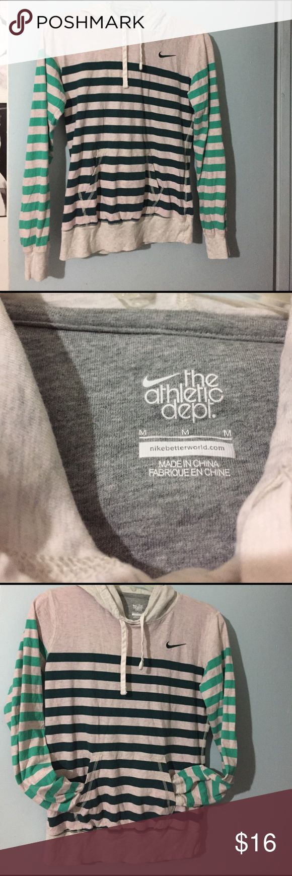 Ladies Nike Hoodie M Gently loved, the athletic dept. Medium, mint and hunter green stripes on heather grey, front pockets, soft 100% cotton Nike Tops Sweatshirts & Hoodies