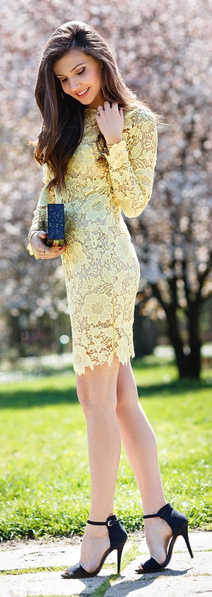 Yellow Lace Inspiration Dress. Just add a little length to the skirt and it would be perfect for me! :)