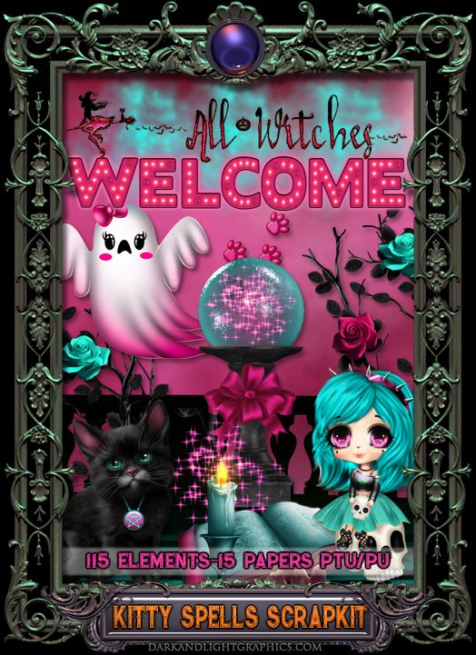 Scrapkit with a Halloween theme,match for Kitty Spells set of tubes,click for more details.