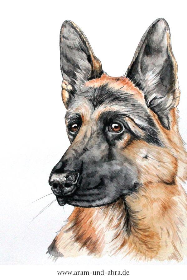 #Hund malen lassen | Aquarell | Portrait | Zeichnen | Ideen | DIY | Tipps | Anleitung | kreativ | Kunst | Tierportrait | Hunde | DSH | Deutscher Schäferhund | Hundeblog | Aram und Abra | www.aram-und-abra.de