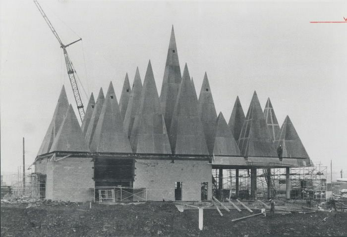One of the Canadian exhibition pavilions; is a building of pyramids. Through its doors will pass people from many nations visiting Expo.