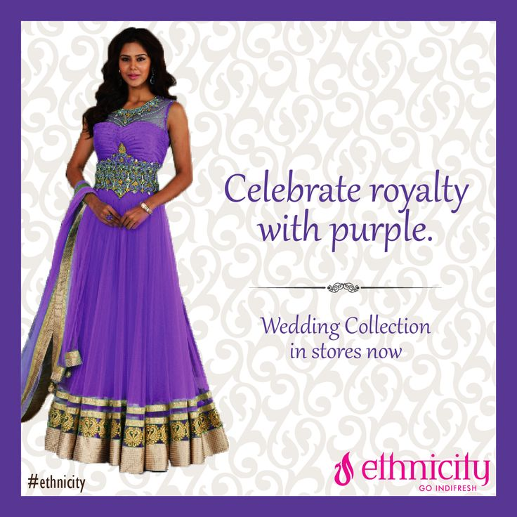 Mauve, a shade of purple represents - future, imagination and dreams. It's a royal color. Lets put it on. #ethnicity#indifresh#royalty#wedding#weddingcollection#purplewear