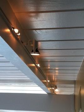 track lighting on beam