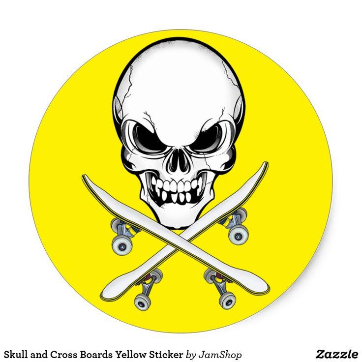 Skull and Cross Boards Yellow Sticker