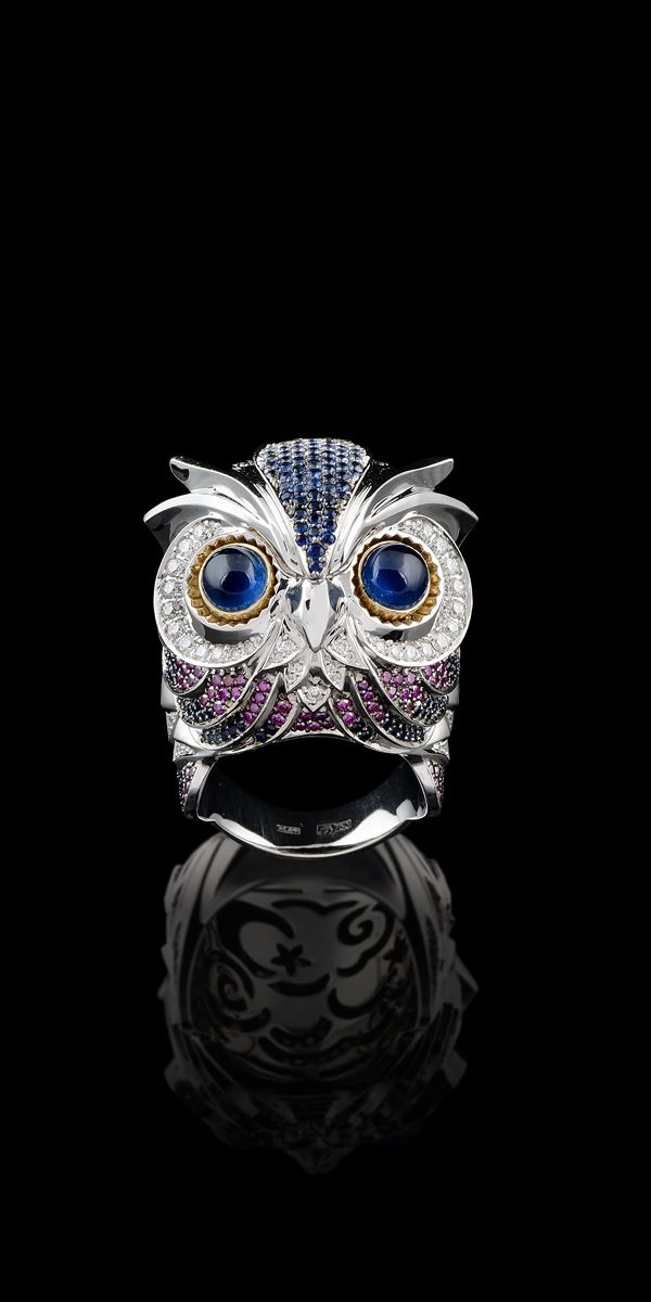 Ring 9406 Collection: Birds of paradise 18K yellow and white gold, blue sapphires 3,21 ct, diamonds, purple diamonds, blue sapphires.