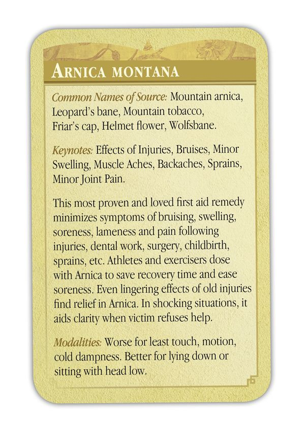 Homeopathic Remedy Cards - Arnica - Detail! 1-800 Homeopathy