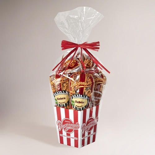 One of my favorite discoveries at WorldMarket.com: Popcornopolis 4-Cone Premium Popcorn Gift Basket