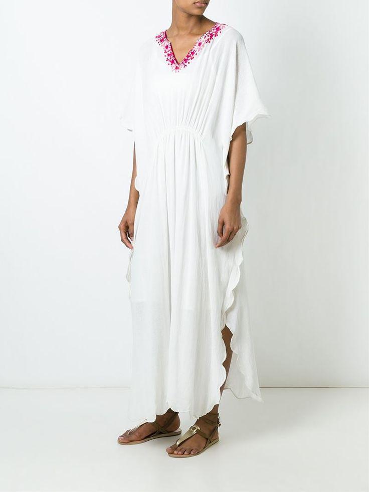 ¡Cómpralo ya!. Mes Demoiselles Vestido De Playa Estilo Caftán Bordado. Vestido de playa estilo caftán bordado en algodón blanco de Mes Demoiselles. , vestidoinformal, casual, informales, informal, day, kleidcasual, vestidoinformal, robeinformelle, vestitoinformale, día. Vestido informal  de mujer color blanco de MES DEMOISELLES.