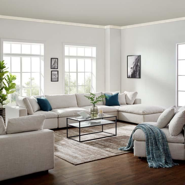 Common Down Filled Plush Overstuffed 5 Piece Sectional Sofa In