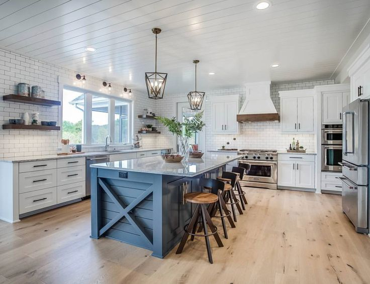 this elegant kitchen is the quintessential farmhouse dream space with its blue island f on kitchen island ideas modern farmhouse id=50831