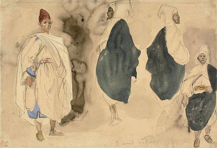 Four Sketches of Arab Men   The Art Institute of Chicago -- Delacroix
