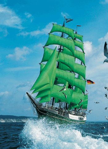 German Tall Ship-I remember when the tallships came to Boston, it was so exciting to see the parade in the harbor.