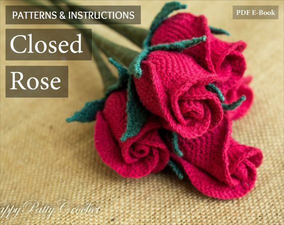 Crochet Flower Pattern  Closed Rose Pattern  by HappyPattyCrochet