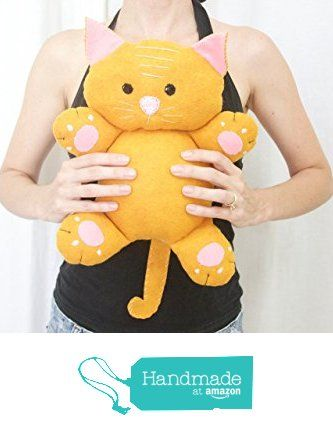 13 inch stuffed orange wool blend felt stripped kitty cat from La Chulona Handmade Dolls http://www.amazon.com/dp/B01G0XS3GS/ref=hnd_sw_r_pi_dp_EMouxb1HBGW17 #handmadeatamazon