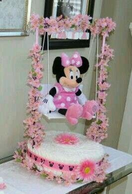 Baby Shower Minnie Mouse Theme Diaper Cake one tier created by Cyd Haltom