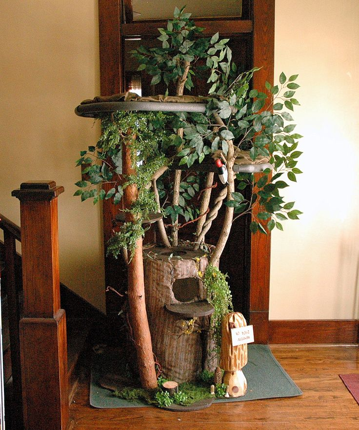 204 best cat trees images on pinterest pets cute for Diy cat tree house