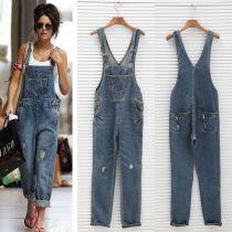 Kadın Bayanlar Baggy Denim Jeans Tam Boy Pinafore dungaree Genel Jumpsuit