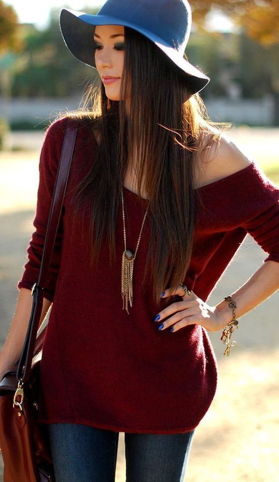 love this burgundy knit sweater on trendslove