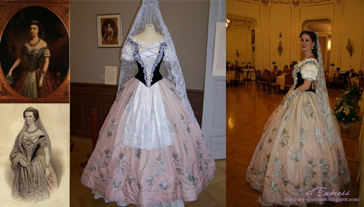 Sisi, Hungarian ball dress repro. Elisabeth of Austria (due to the movie also known now as Sissi, 1837-1898)
