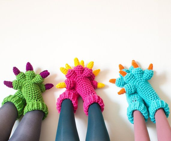 Monster Slippers Crochet Pattern Kids Womens Mens by KnitsForLife