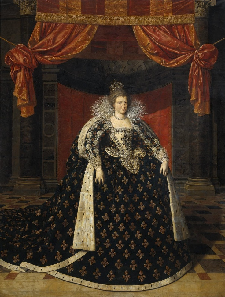 The 1610 coronation portrait of Maria de'Medici of France. The 35-carat Beau Sancy diamond mounted on the top of the crown was long coveted by Queen Maria, who eventually received it as a gift from her husband, Henry VI.  A legendary schemer, the Queen Maria never completely escaped implication regarding the assassination of her husband the king the day after her coronation.  The legendary gem (whose clarity must have posed a challenge for the artist!) will be sold at auction May 2012.