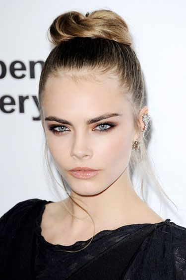 top knot, smokey eye makeup, eyebrows