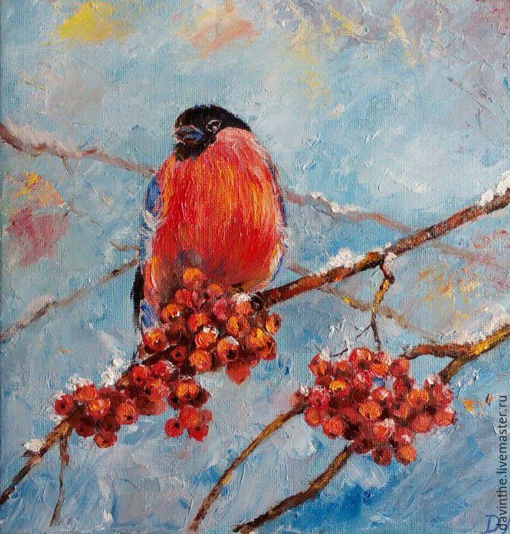 """Купить картина маслом """"Снегирь"""" - снегирь, снегири, Рябинка, гроздь рябины, Рябина, зима, птица"""
