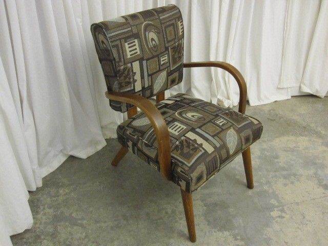 Mid-Century Modern Style Armchair Bentwood Arms and Upholstered Seat