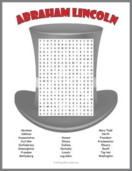 FREEBIE!! Abraham Lincoln Word Search Puzzle featuring vocabulary words to use when teaching about Lincoln . Students will reinforce their knowledge and review spelling while having fun doing a puzzle.  Get ready for Lincoln's BD - February 12th.