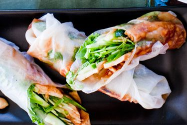 Vietnamese peanut and chicken rolls