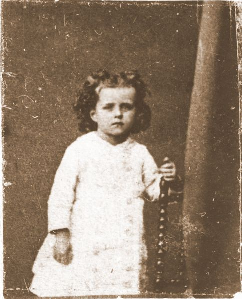 "Photo of Saint Therese ""The Little Flower of the Child Jesus and the Holy Face, Patroness of all Missions"" , as a little girl"