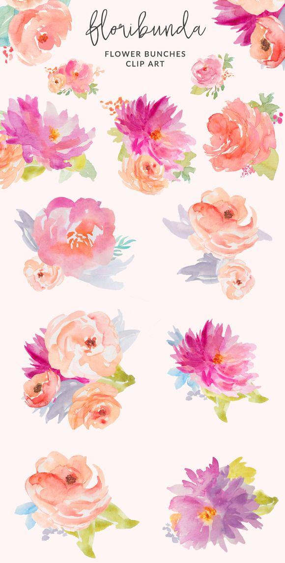 Clip Art Wedding Invitation Floribunda Watercolor Flowers by Angie Makes on Creative Market Pocket Scrapbooking / Project Life / Journaling / Memory Keeping