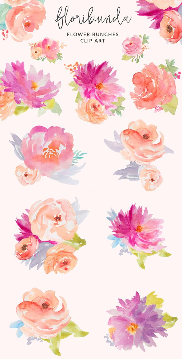 Floribunda Watercolor Flowers by Angie Makes on @creativemarket