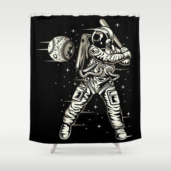 Space Baseball Astronaut Shower Curtain