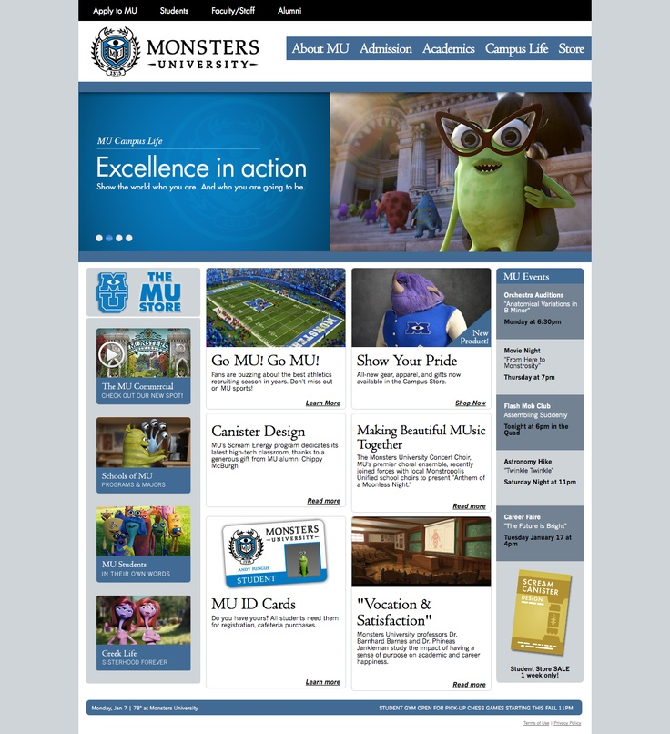 It's all in the branding. New Monster University website look and feels like a real college website! Soo neat!  http://monstersuniversity.com