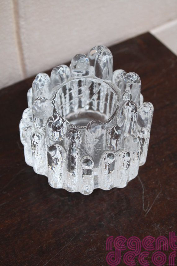 Kosta Boda Icicle Candle Holder Vintage Scandinavian Glass