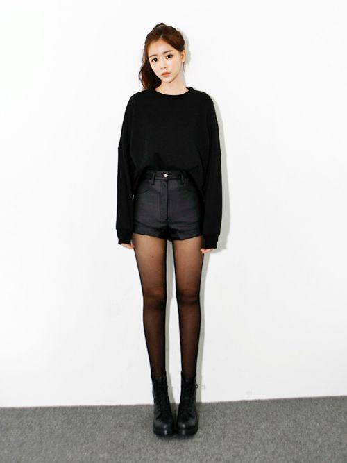 sheer to opaque tights + black high waist shorts