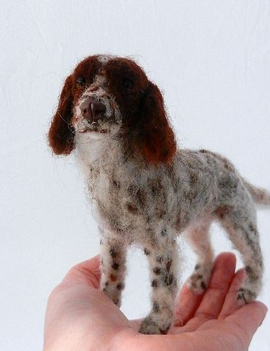 needle felted springer spaniel by feltedfido