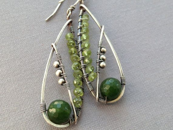 Free shipping/ Canadian Jade and Peridot Wire Wrapped in Sterling Silver