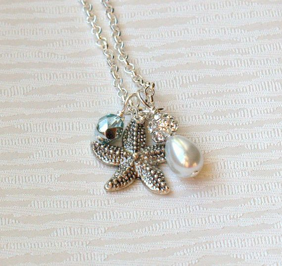 Starfish Necklace Bridesmaid Gift Jewelry by LaurinWedding on Etsy