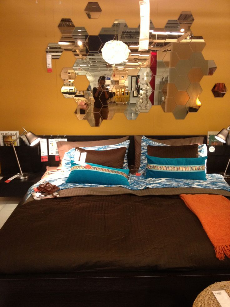 Ikea Isnpired Bedroom Decor Brown Orange Light Blue