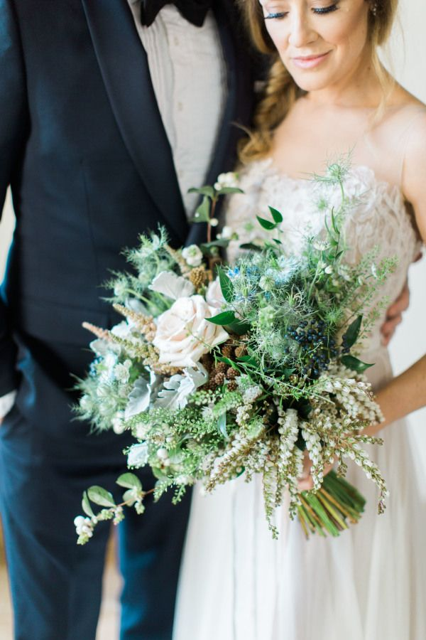 Wild + romantic countryside inspired wedding bouquet…