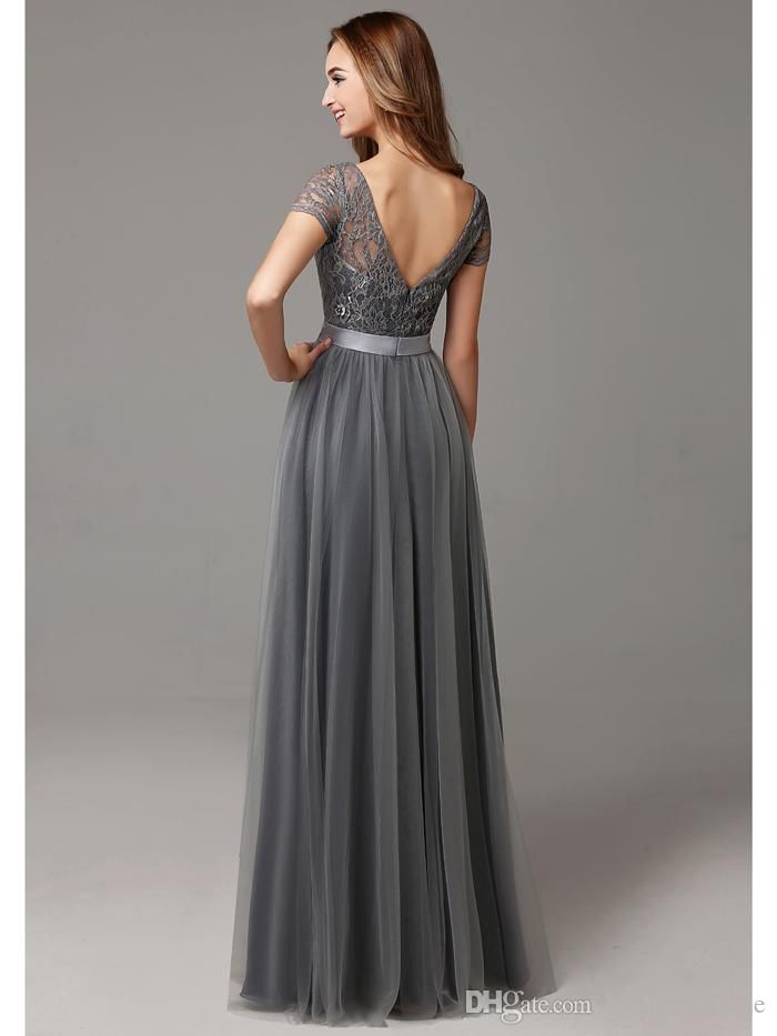 Glamorous Grey A-line Lace Tulle Bridesmaid Gowns 2016 Jewel Floor-Length Maid Of Honor Dress Ribbons Wedding Party Dress bd10226