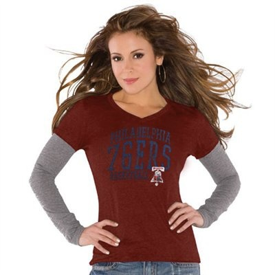 Touch by Alyssa Milano Philadelphia 76ers Ladies Red Double V Tri-Blend Premium T-shirt - $31.95