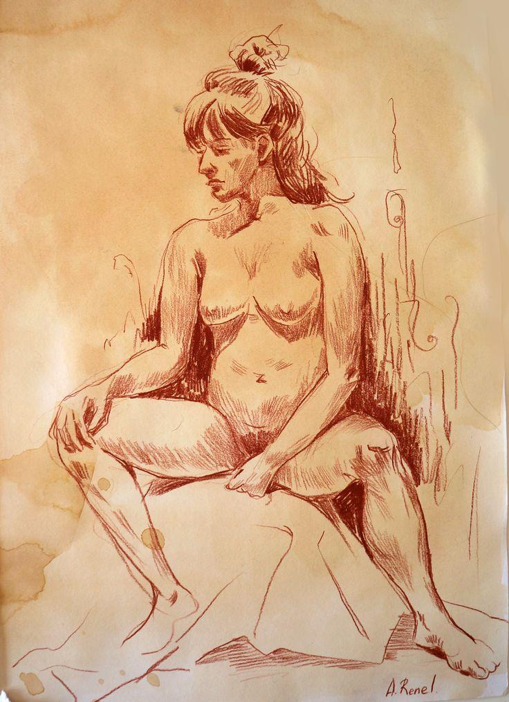 Sketches Model #doodle #croquis #crayon #model #illustration #AnnaRenel #drawing #speedpaint #sketchbook #sketch #sepia #moleskine #annecy #france #art #drawing #modellife