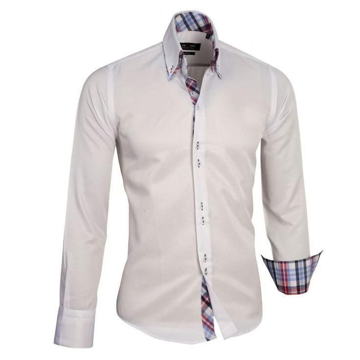 Shop online from our beautifully tailored Farrabi shirts. Button down – Chequered Collar Slim Fit Formal Double collar dress shirt white. Check out our online store for more!