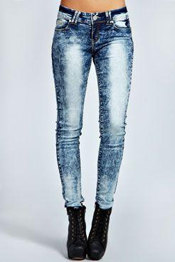 Erica Extreme Acid Wash Skinny Jeans at boohoo.com