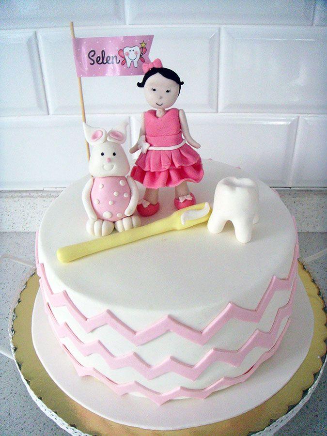 """"""" Diş & Tavşan """" Temalı Kız Bebek Butik Diş Buğdayı Pastası.! Tooth cake.! Fondant cake.! Birthday cake.!"""